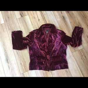 INC International Concepts Maroon Velvety Jacket